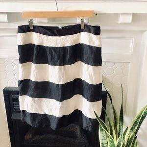 LOFT Black & White Striped A-Line Skirt